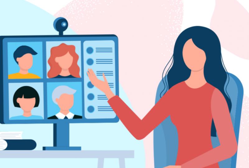 Illustrasjon med person foran ein skjerm med fleire personar